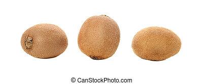 Three ripe kiwi isolated on white background