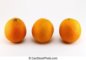 Three ripe oranges isolated on white background