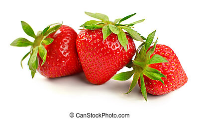 Three ripe strawberries isolated on white background.