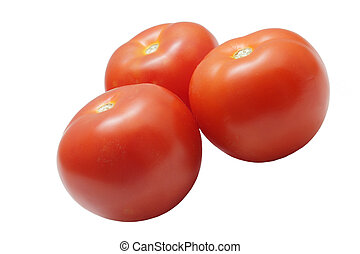 Three ripe tomatoes isolated on white background