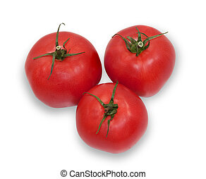 Three ripe tomatoes isolated on white background