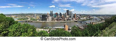 Three Rivers Pittsburgh Pennsylvania Aeiral Panoramic View -...