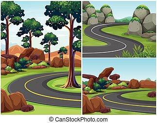 Three road scenes with trees alongside