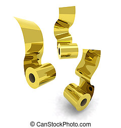 three roll toilet paper gold 3d illustration
