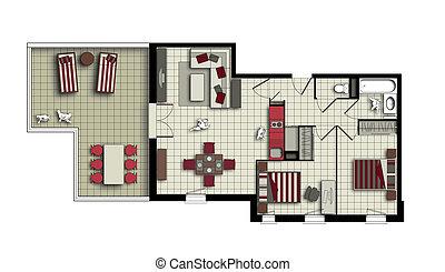 three-room, flat, bovenzijde, kleuren, beige, rood, aanzicht