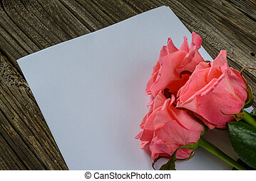 Three roses in corner over paper - Three pink rose blooms in...
