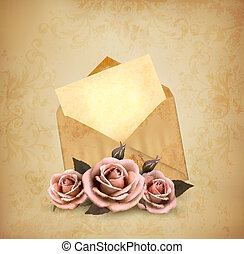 Three roses in front of an old envelope with a letter. Love ...