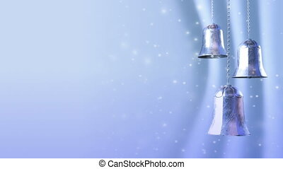 three rotating blue silver christmas bells with glitter bokeh background. Seamless loop. 3D render