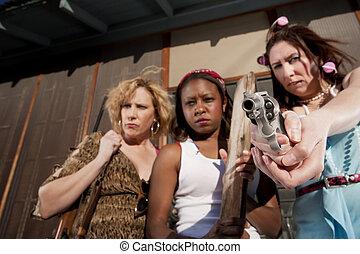 Three rough women