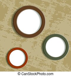 three round frame on grungy background