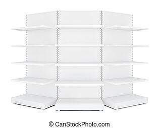 Three rounded blank empty retail shelves. White Background....