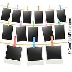 three rows with photo frames hanging on a rope with clothespins. vector