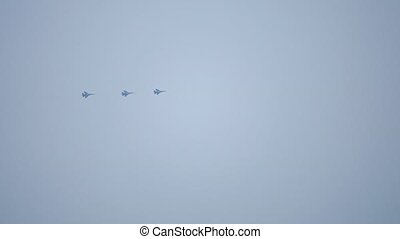 Three Russian Air Force fighters flying in the sky - Russian...
