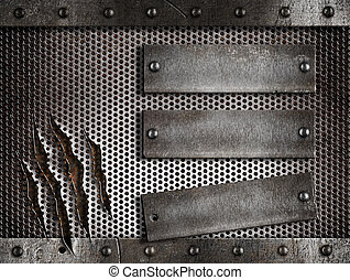 three rusty plates over metal holed or perforated grid background