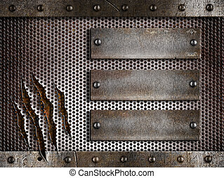 three rusty plates over metal holed or perforated grid...