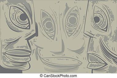 Three sad tired faces