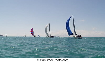 Three sailboats in a diagonal position
