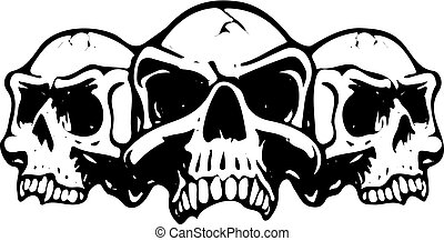 Three scary skulls, silhouette on white background, vector