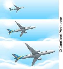 Three scenes of airplane flying in sky