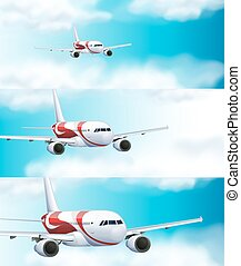 Three scenes with airplane in the sky