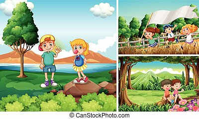Three scenes with children in countryside