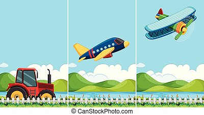 Three scenes with different types of transportation