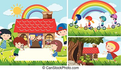Three scenes with kids playing in garden