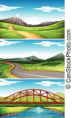 Three scenes with mountains and trails