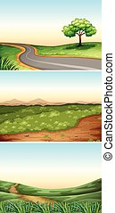 Three scenes with road in countryside