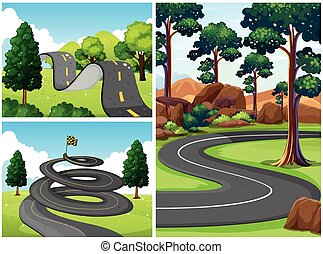 Three scenes with roads in the park
