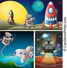 Three scenes with rocket in space