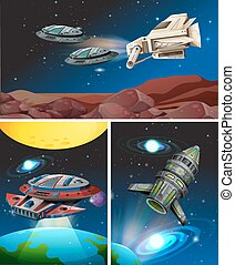 Three scenes with spaceships in space