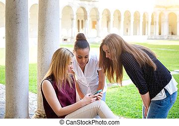 Three school girls friends