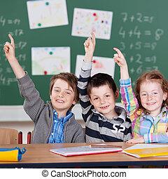 Three schoolchildren