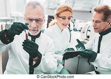 Three scientific researchers in green gloves
