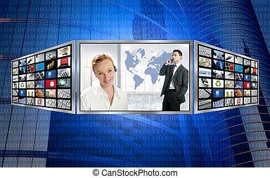 Three screen monitor, business world tech communication