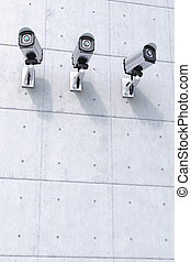Three Security camera with copyspace bottom