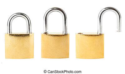 Three security padlocks