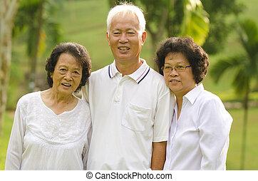 Three Senior Asian Smiling
