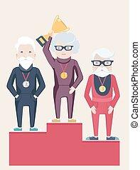 Three senior people on a winners podium with an elderly...