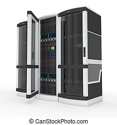 three servers with open door on white