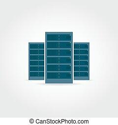 Three servers illustration - Server room. Three dark blue...