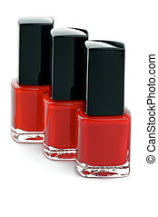 Three Shades of Red Bright Nail Varnishs isolated on white...