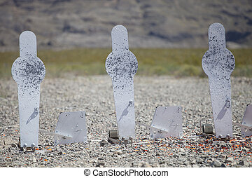 Three shotgun silhouette targets