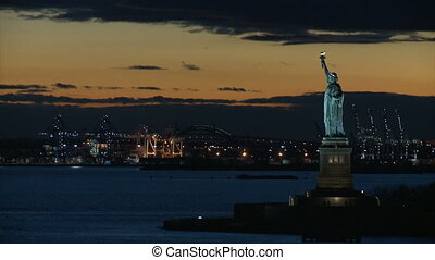 Three shots of the statue of liberty
