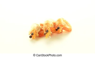 Three shrimps isolated on a white background