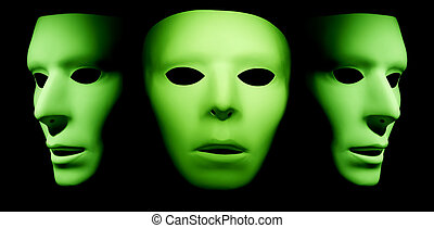 One green alien ghost like face looking forward with two profiles of green faces on the left and right side.