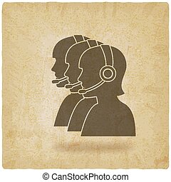 three silhouette girls operators call center vintage background