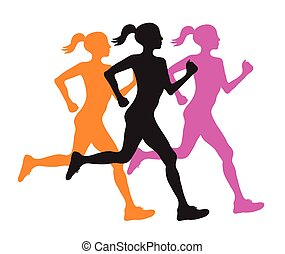 three silhouette of running women profile black, orange and pink, vector eps10 illustration