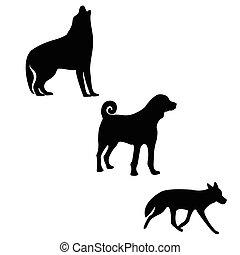 Three silhouettes of logo animals